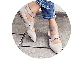 Strappy suede shoe