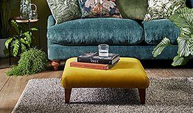 Velvet sofa and footstool