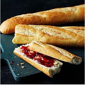 Baguette with jam and butter