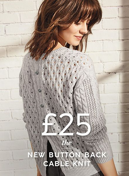 Model wearing button-back jumper