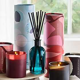A selection of Lifeology home fragrances and scented candles