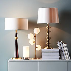 Table lamps and books