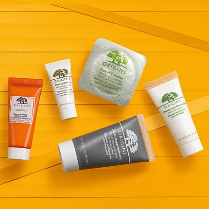 Origins skin-care minis on a yellow background