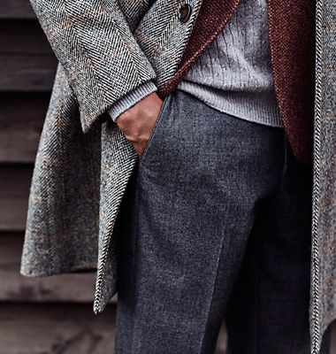 Men's layering with wool coats, jackets and trousers