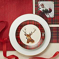 Red and white serveware
