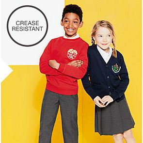 Boy and girl wear crease-resistant trousers and pleated skirt