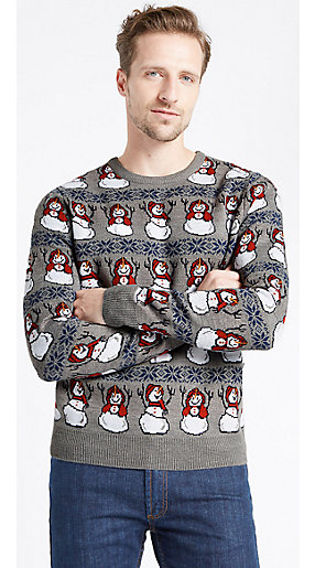 Man wearing novelty Christmas jumper