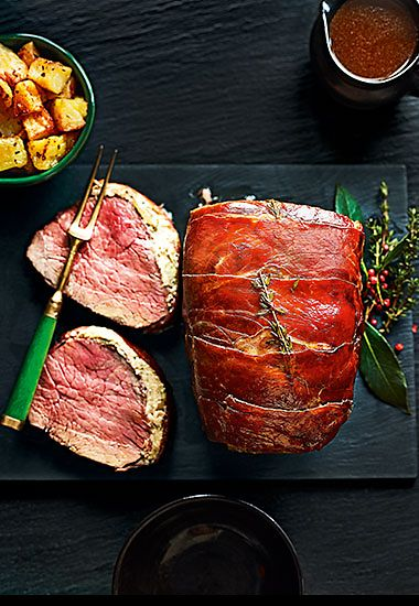 Prosciutto-wrapped beef rump