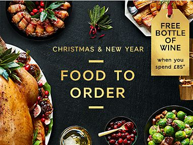 Free wine or chocolates when you spend £85 or more on Christmas Food to Order