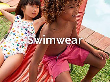 Kids wearing recycled swimwear