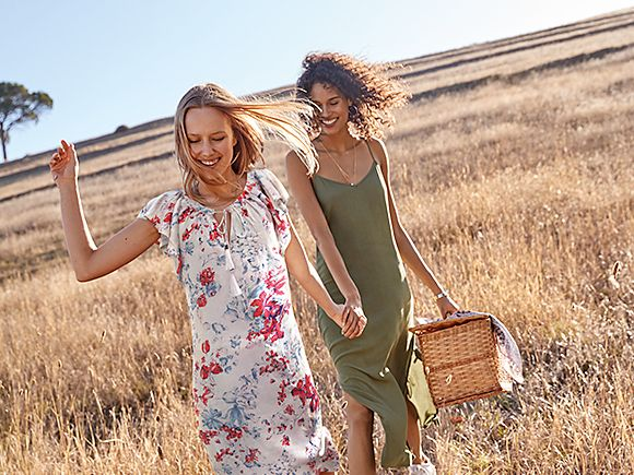 Women wearing floral maxi dress and khaki sun dress