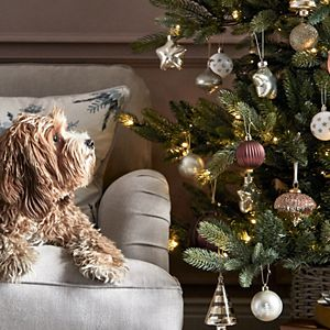 Dog on a sofa next to decorated Christmas tree