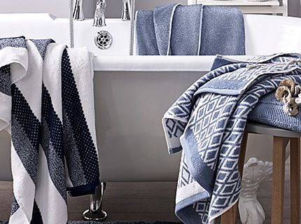 Patterned towels in a bathroom