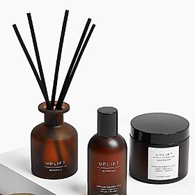 Room fragrance diffuser, spray and candle