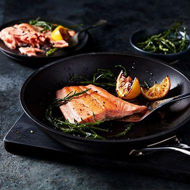 Salmon with lemon and samphire