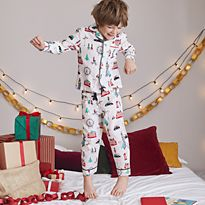 Boy wearing M&S pyjamas