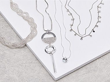 A selection of silver necklaces