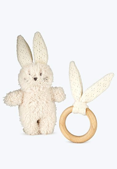 Rabbit toy and wooden teether