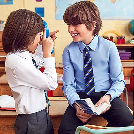 Boys wearing M&S school shirts