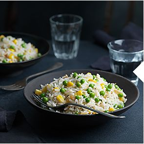 Bowl of microwaveable rice