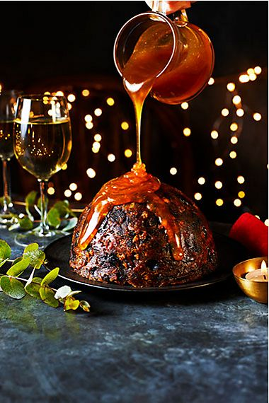 Sticky toffee Christmas pudding