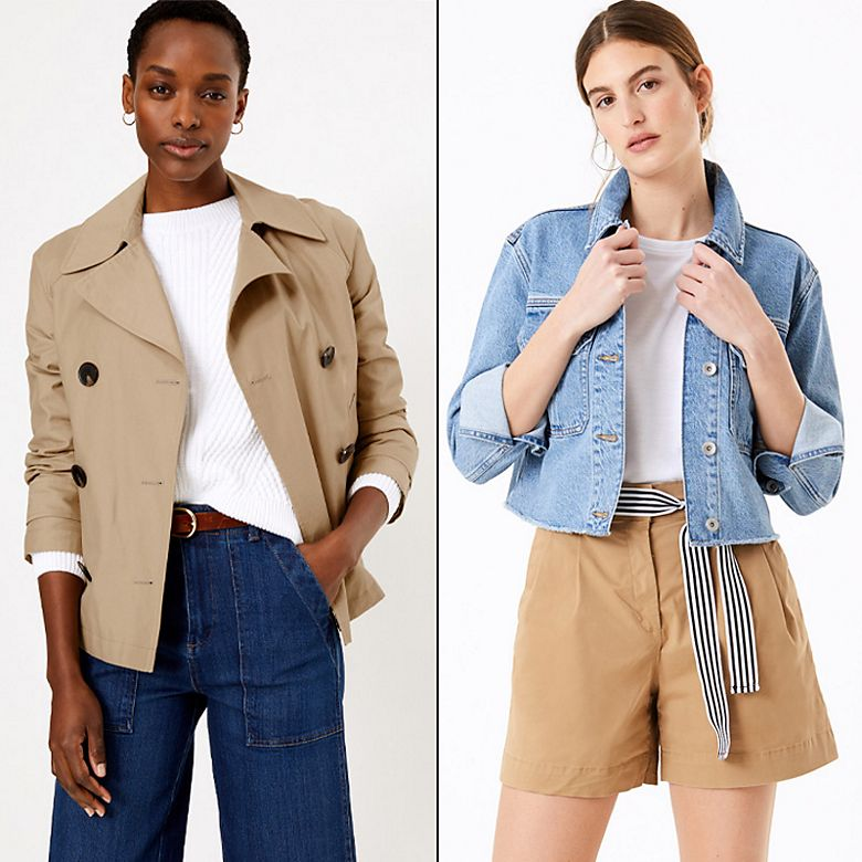 Woman wearing beige peacoat and jeans, woman wearing beige shorts and denim jacket