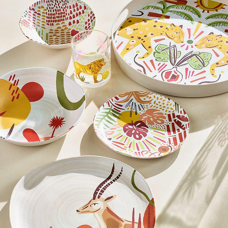 Picnicware featuring jungle animals and foliage