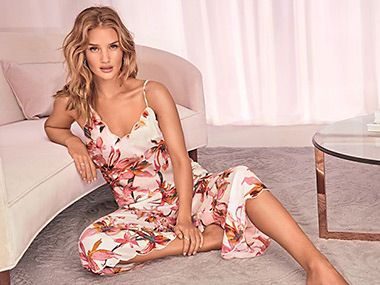 Rosie Huntington-Whiteley in flower print nightdress
