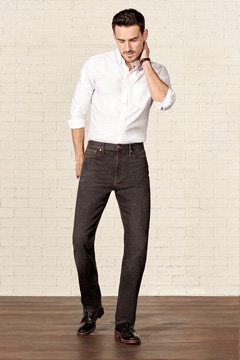 Man wearing straight fit jeans