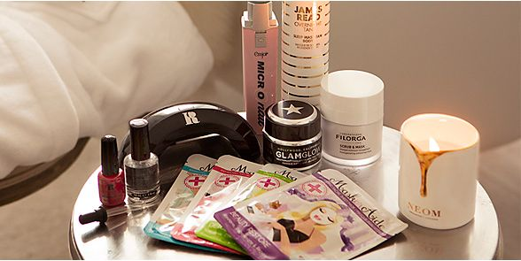 Side table with beauty products
