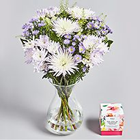 Lilac and white flower arrangement