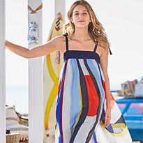 Woman in a colour-block beach dress