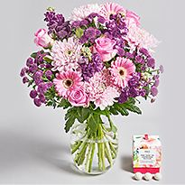 Arrangement of pink and purple flowers
