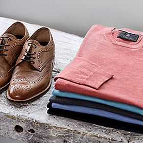 Pair of men's brogues and cashmere tops