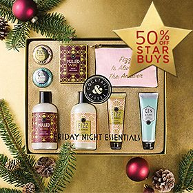 Beauty gift set with cocktail-inspired products