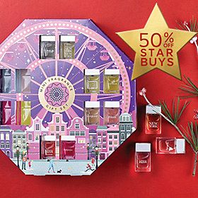 A fragrance fairground on a festive red background