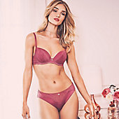 Woman wearing purple bra and knickers