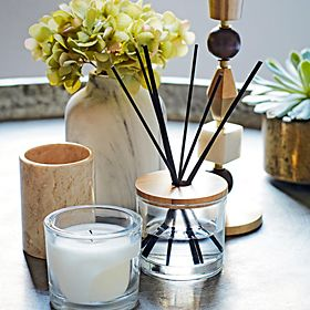 Home fragrance diffuser and candle