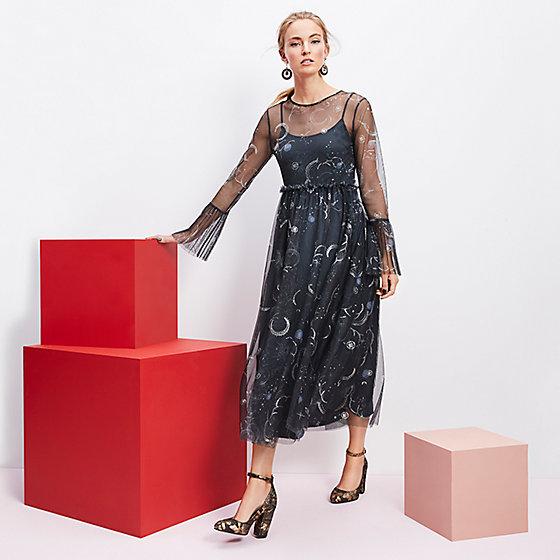 Star-print party dress