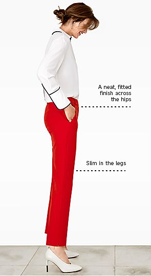 Mode wears slim leg trousers