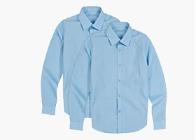 M&S two-pack boys' Long Sleeve Shirts with Stain Away™