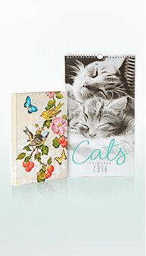 A cats 2016 calendar and butterfly-motif diary