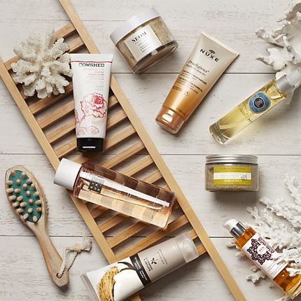 Range of bath-time goodies from Ren, Rituals, Nature's Ingredients and Nuxe