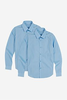 Slim fit 2 pack boys' long sleeve shirts with stain away™