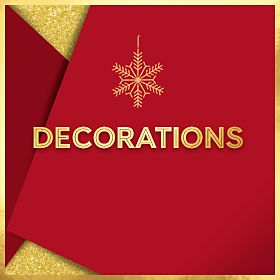 Red presents and gold star decorations