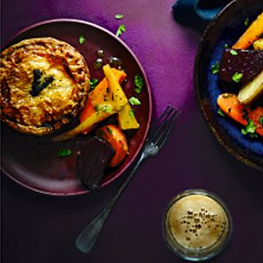 Gastropub venison and stuffing pie
