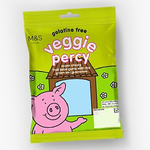 Bag of vegetarian Percy Pig sweets