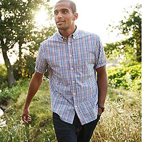 Man wearing casual check shirt
