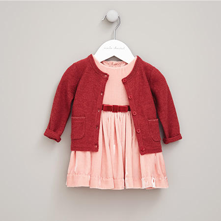Pink velvet Marie-Chantal pink dress and cardigan