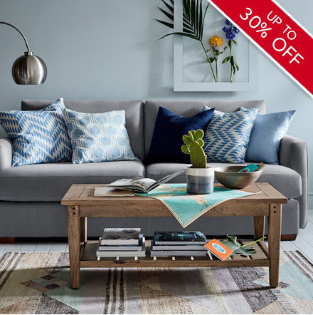 Hadleigh grey sofa with cushions in living room